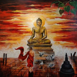 Buddha and monk 9 by Arjun das, Expressionism Painting, Acrylic on Canvas, Brown color