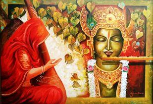 Meera ke krishna 6 by Arjun das, Expressionism Painting, Acrylic on Canvas, Brown color