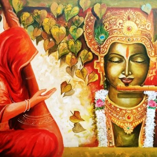 Meera ke krishna 6 by Arjun das, Expressionism Painting, Acrylic on Canvas, Brown color