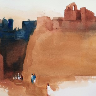 GOT inspired to enter the colonial past by Prashant Prabhu, Impressionism Painting, Watercolor on Paper, Brown color