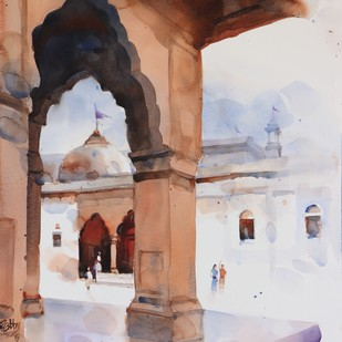 A Dorne the heritage past by Prashant Prabhu, Impressionism Painting, Watercolor on Paper, Brown color