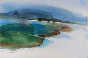 Landscape of some place somewhere by Prashant Prabhu, Impressionism Painting, Watercolor on Paper, Green color