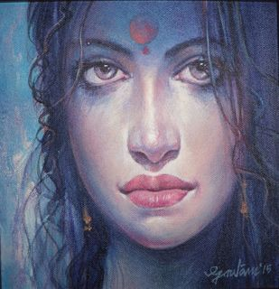 Untitled by Gautam Sarkar, Expressionism Painting, Acrylic on Canvas, Blue color