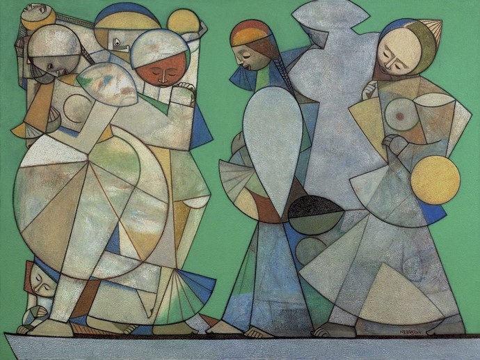 Chorus by Neeraj Goswami, Geometrical Painting, Acrylic on Canvas, Green color