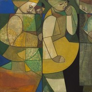 Young Couple by Neeraj Goswami, Expressionism Painting, Oil on Canvas, Green color