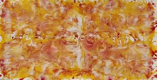 Fire by Abishai, Abstract Painting, Enamel on Canvas, Brown color