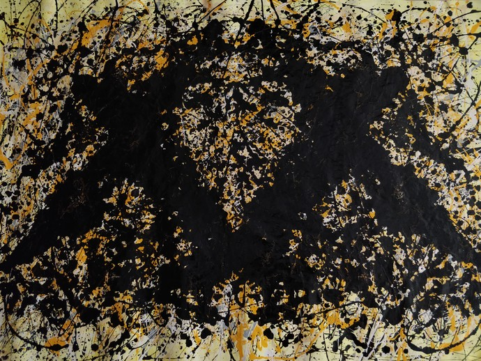 Abstract 3 by Abishai, Abstract Painting, Enamel on Canvas, Brown color