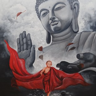 Buddha and monk child 10 by Arjun das, Expressionism Painting, Acrylic on Canvas, Gray color