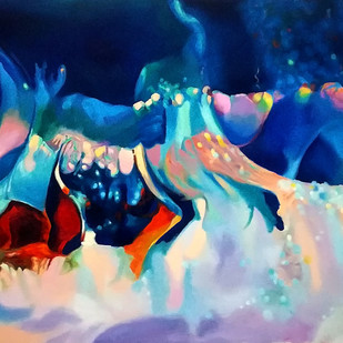 Colour Of The Universe V by Sumitava Maity, Expressionism Painting, Oil on Canvas, Blue color