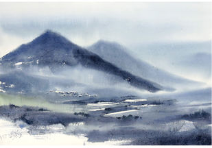 Grey Valley by Sunil Linus De, Impressionism Painting, Watercolor on Paper, Cyan color