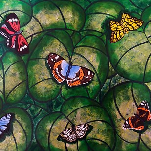 Colors of Nature 2 by Sreya Gupta, Expressionism Painting, Mixed Media on Canvas, Green color