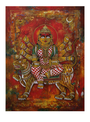 Kushmanda-19 by Rajeshwar Nyalapalli, Traditional Painting, Acrylic on Canvas, Brown color