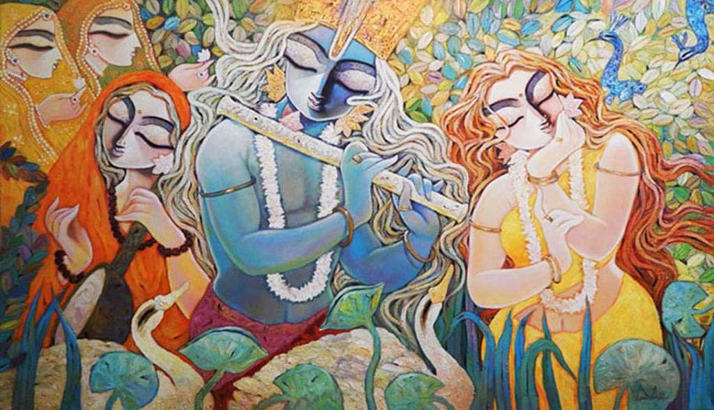 RADHAKRISHNA by Subrata Ghosh, Expressionism Painting, Acrylic on Canvas, Brown color