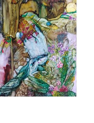 Camoflaging with nature by Shilpa Dahra, Expressionism Painting, Ink on Paper, White color
