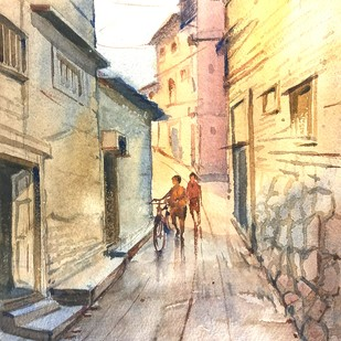Old Lane by Ananda Ahire, Impressionism Painting, Watercolor on Paper, Beige color