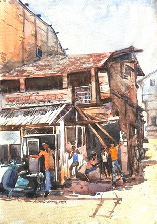 S_101 by Ananda Ahire, Impressionism Painting, Watercolor on Paper, Brown color