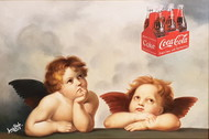 I LOVE COLA by Sanuj Birla, Pop Art Painting, Oil on Canvas, Beige color