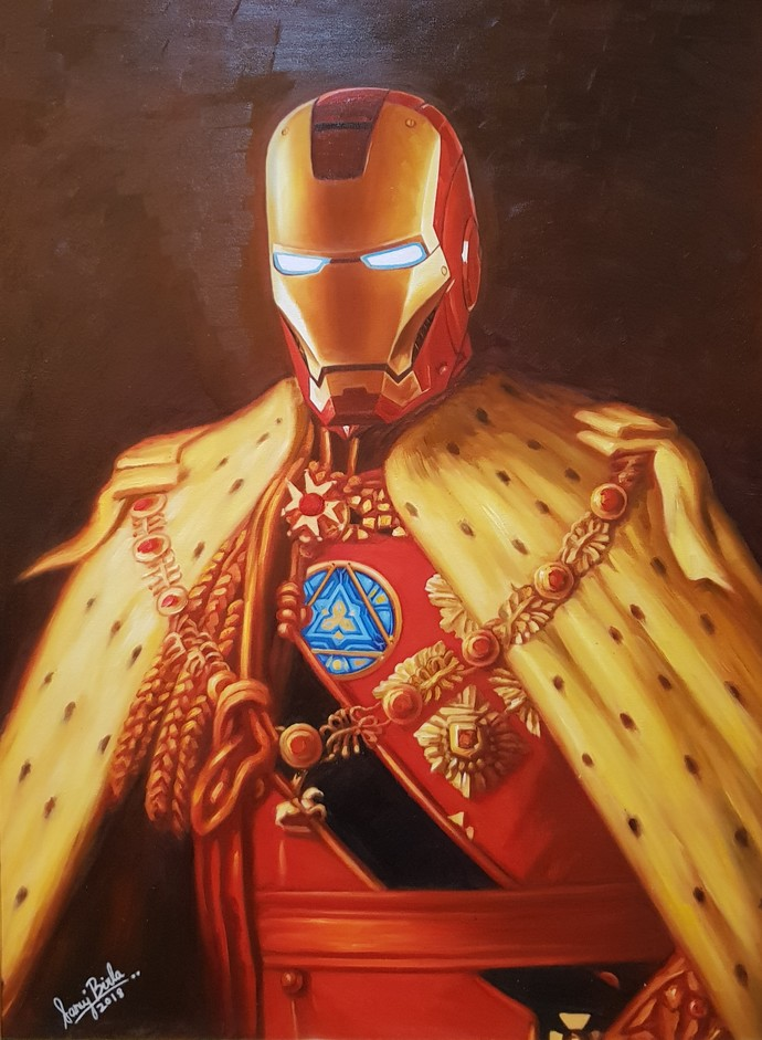 LORD IRON MAN by Sanuj Birla, Pop Art Painting, Oil on Canvas, Brown color