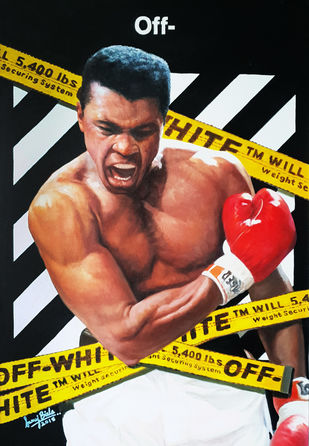 ALI X OFF-WHITE by Sanuj Birla, Pop Art Painting, Oil on Canvas, Brown color