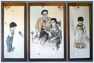Family by Gautam Mukherjee, Expressionism Painting, Acrylic on Canvas, Gray color
