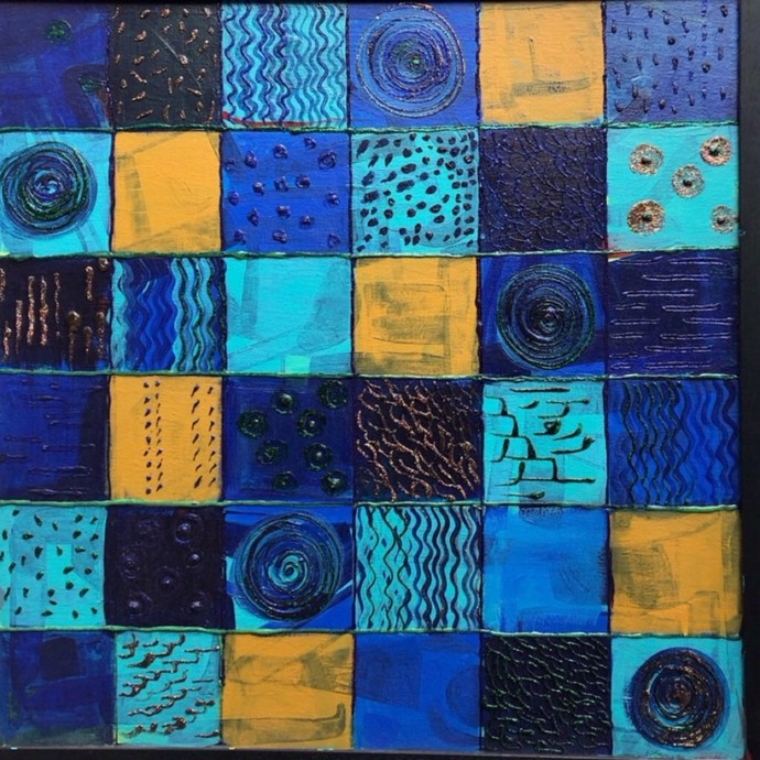 Blue Wave by Shruti Vij, Geometrical Painting, Mixed Media on Canvas, Blue color