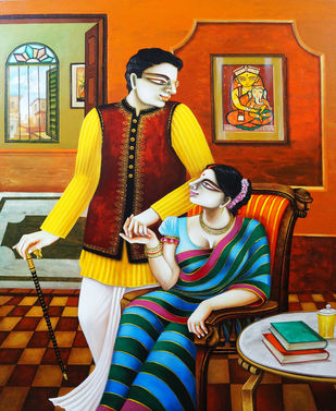 Couple by Gautam Mukherjee, Expressionism Painting, Acrylic on Canvas, Brown color