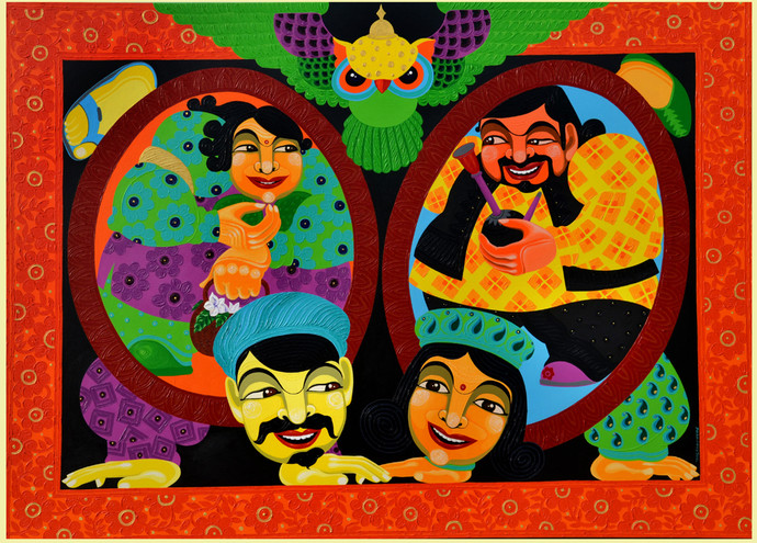 The Polyphonic Promiscuity by Pradiptaa Chakraborty, Expressionism Painting, Acrylic on Canvas, Brown color