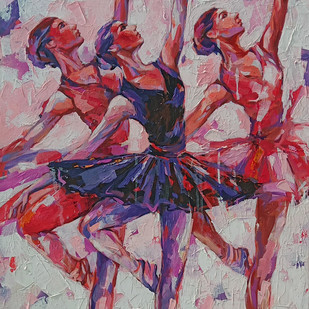 Ballerina series by Anindya Mukherjee, Expressionism Painting, Acrylic on Canvas, Brown color