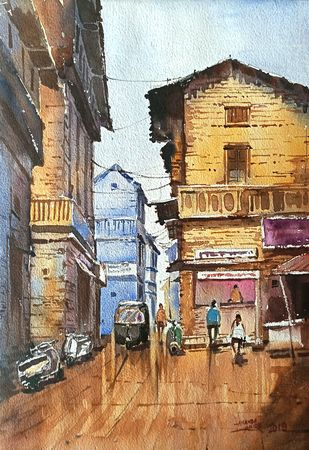 Old Lane by Ananda Ahire, Impressionism Painting, Watercolor on Paper, Brown color
