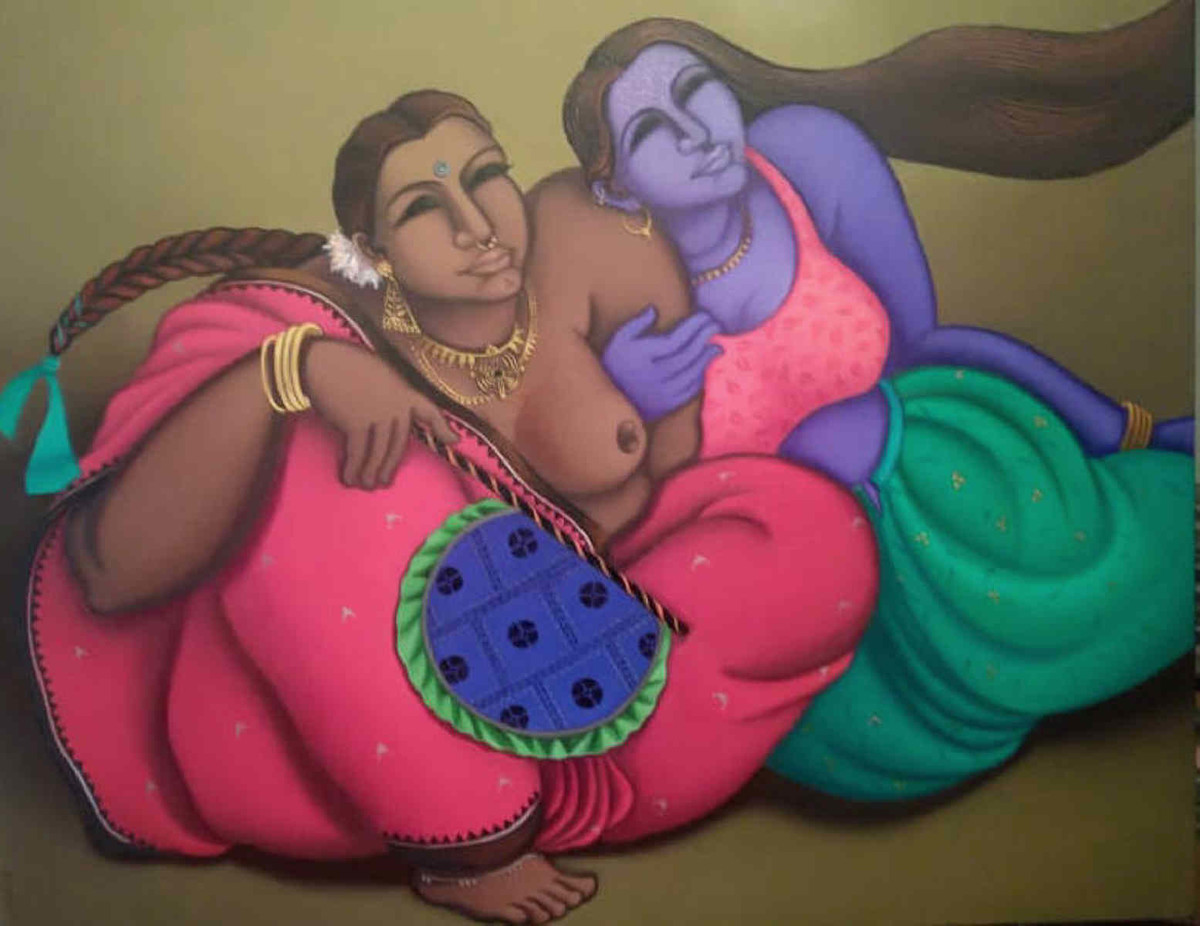 Precious Moments of Leisure by Subrata Saha, Expressionism Painting, Oil on Canvas, Brown color