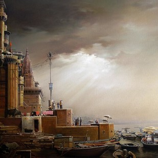 Daybreak at the Benares Ghats - II by Amit Bhar, Impressionism Painting, Oil & Acrylic on Canvas, Brown color