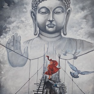 Buddha and monk child 11 by Arjun das, Impressionism Painting, Acrylic on Canvas, Gray color