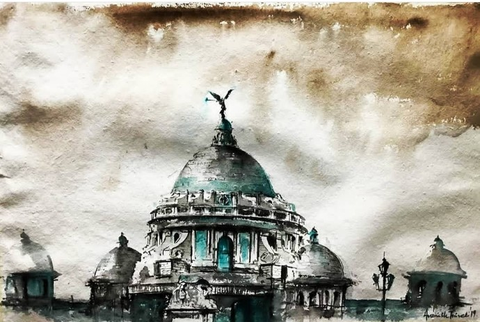 Victoria Memorial.. Calcutta Painting by Avanish Trivedi, Impressionism Painting, Watercolor on Paper, Beige color