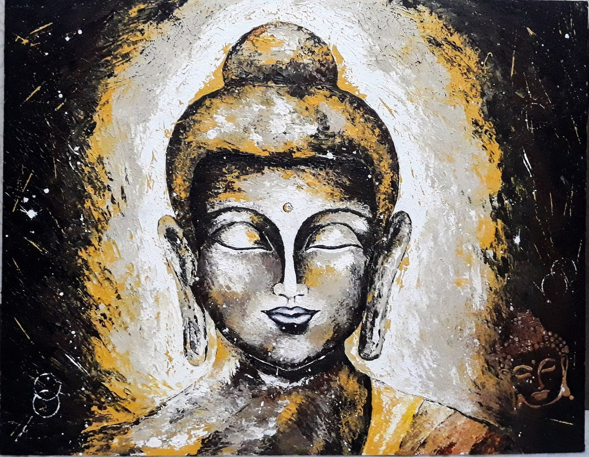 Calm and Serene Buddha by Samta, Expressionism Painting, Acrylic on Canvas, Brown color