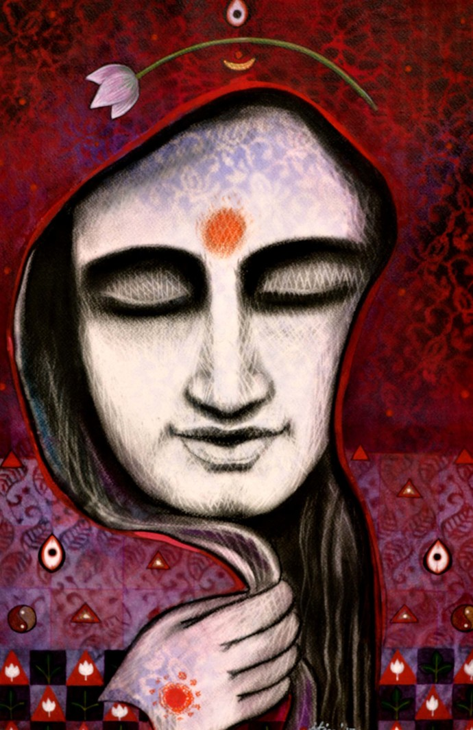 Devine Lady by Atin Mitra, Expressionism Painting, Mixed Media on Paper, Brown color