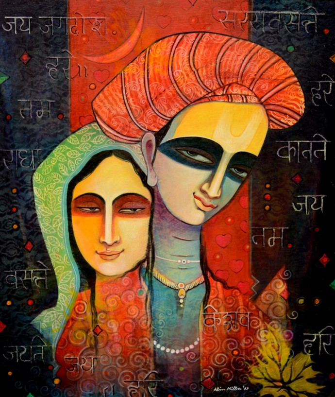 Jugal Sree2 by Atin Mitra, Decorative Painting, Mixed Media on Canvas, Brown color