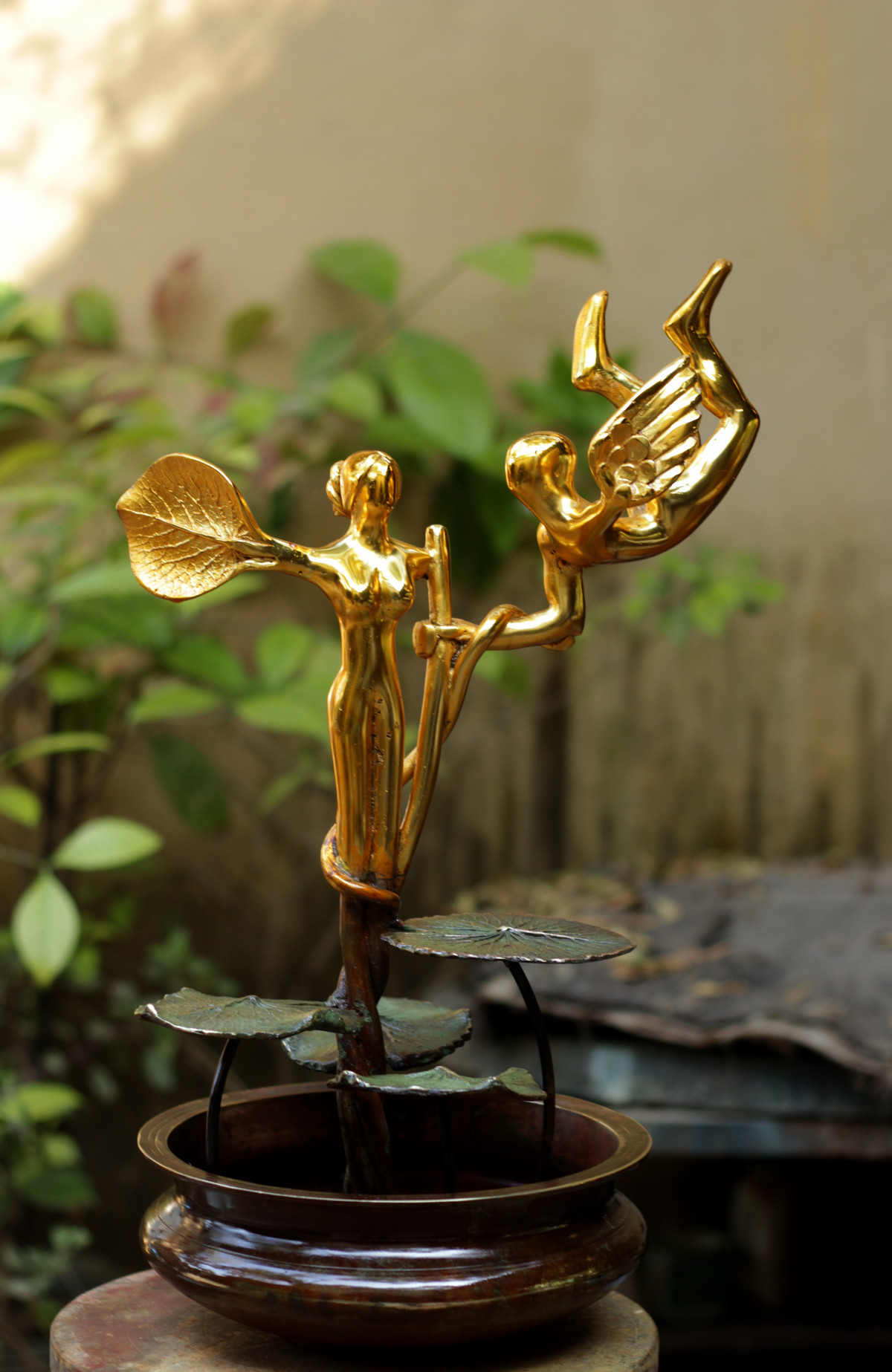 Blossoming Love by Shivarama Chary. Y, Art Deco Sculpture | 3D, Bronze, Beige color