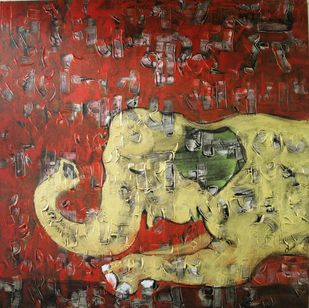Celestial elephant by Charushila, Expressionism Painting, Acrylic on Canvas, Brown color