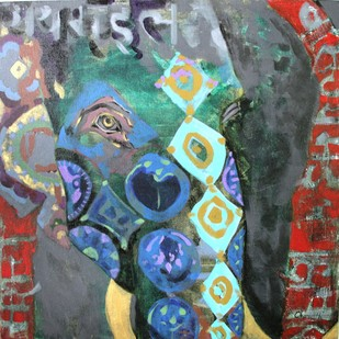 Royal elephant by Charushila, Expressionism Painting, Acrylic on Canvas, Brown color