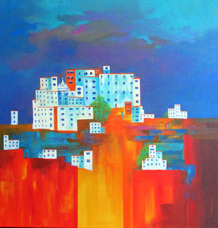 lamayuru_01 by Ganesh Badiger, Geometrical Painting, Acrylic on Canvas, Blue color
