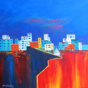 lamayuru_02 by Ganesh Badiger, Expressionism Painting, Acrylic on Canvas, Blue color