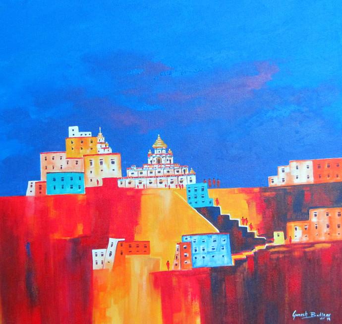 lamayuru_03 by Ganesh Badiger, Expressionism Painting, Acrylic on Canvas, Blue color