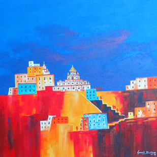 lamayuru_03 by Ganesh Badiger, Expressionism Painting, Acrylic on Canvas, Blue color