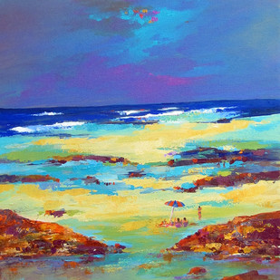 landscape_02 by Ganesh Badiger, Expressionism Painting, Acrylic on Canvas, Blue color