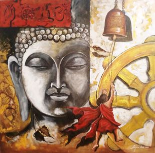 Buddha and monk child 12 by Arjun das, Expressionism Painting, Acrylic on Canvas, Brown color