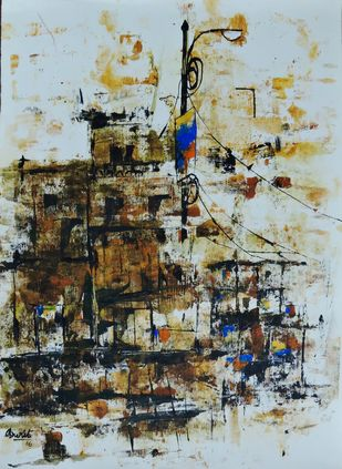 Chaos of the city by Amritpreet, Abstract Painting, Acrylic on Canvas, Brown color