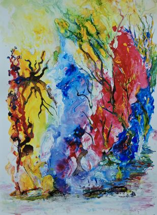 Seeking peace by Amritpreet, Abstract Painting, Acrylic on Acrylic Sheet, Beige color