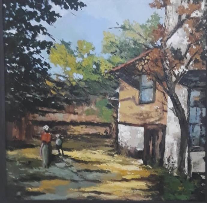 Light by Sarmistha Dutta, Impressionism Painting, Acrylic on Canvas, Gray color