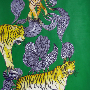 Untitled2 by Umed Rawat, Expressionism Painting, Acrylic on Paper, Green color