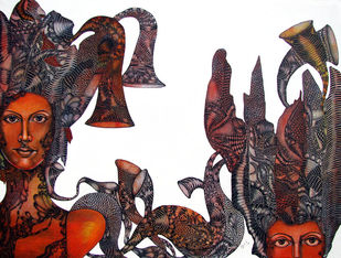 Nayika 2 by Umed Rawat, Expressionism Painting, Acrylic on Canvas, Brown color